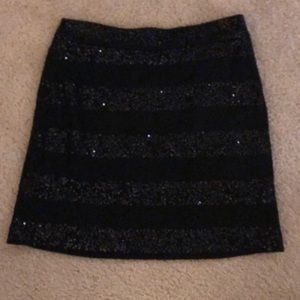 Loft Black Sequin Mini Skirt